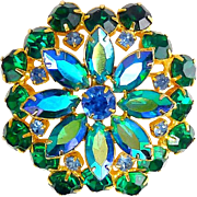 1960's Large Emerald Green, AB  & Sapphire Blue Rhinestone Flower Brooch Pin