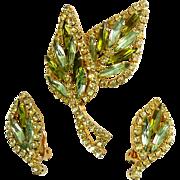 1960's Multi Green & Yellow Rhinestones Leaves Brooch Pin & Clip Earrings - Peridot, Olivine, Jonquil