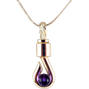 1971 Grosse' Germany Modernist Sterling Silver Hook Pendant with Amethyst Ball, Sterling Necklace