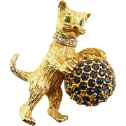 Hattie Carnegie Standing Cat with Rhinestone Ball Pin, Jeweled Collar