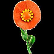Mod 1960's Hattie Carnegie Dynel Fiber & Enamel Flower Pin