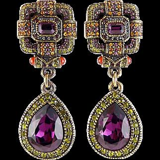 Heidi Daus Lg Amethyst Teardrop Dangle Earrings, Squared Tops, Clip On-Ruby, Peridot, Citrine