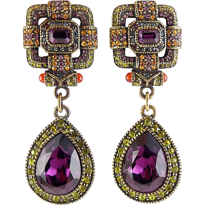 Heidi Daus Lg Amethyst Teardrop Dangle Earrings, Squared Tops, Clip On-Ruby, Peridot, Citrine