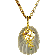 HOBE 1970s Carved Crystal Quartz & Opal Asian Theme Pendant Necklace