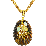 Hobe Carved Tiger's Eye Quartz, Opal & Faux Gem Pendant