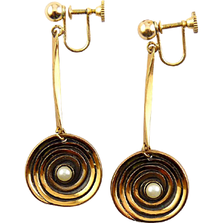 Hogan Bolas Modernist Hanging Copper Spiral with Pearl Drop Earrings,