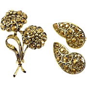 Hollycraft Gold Aurum Rhinestones Flower Bouquet and Clip Earrings Set