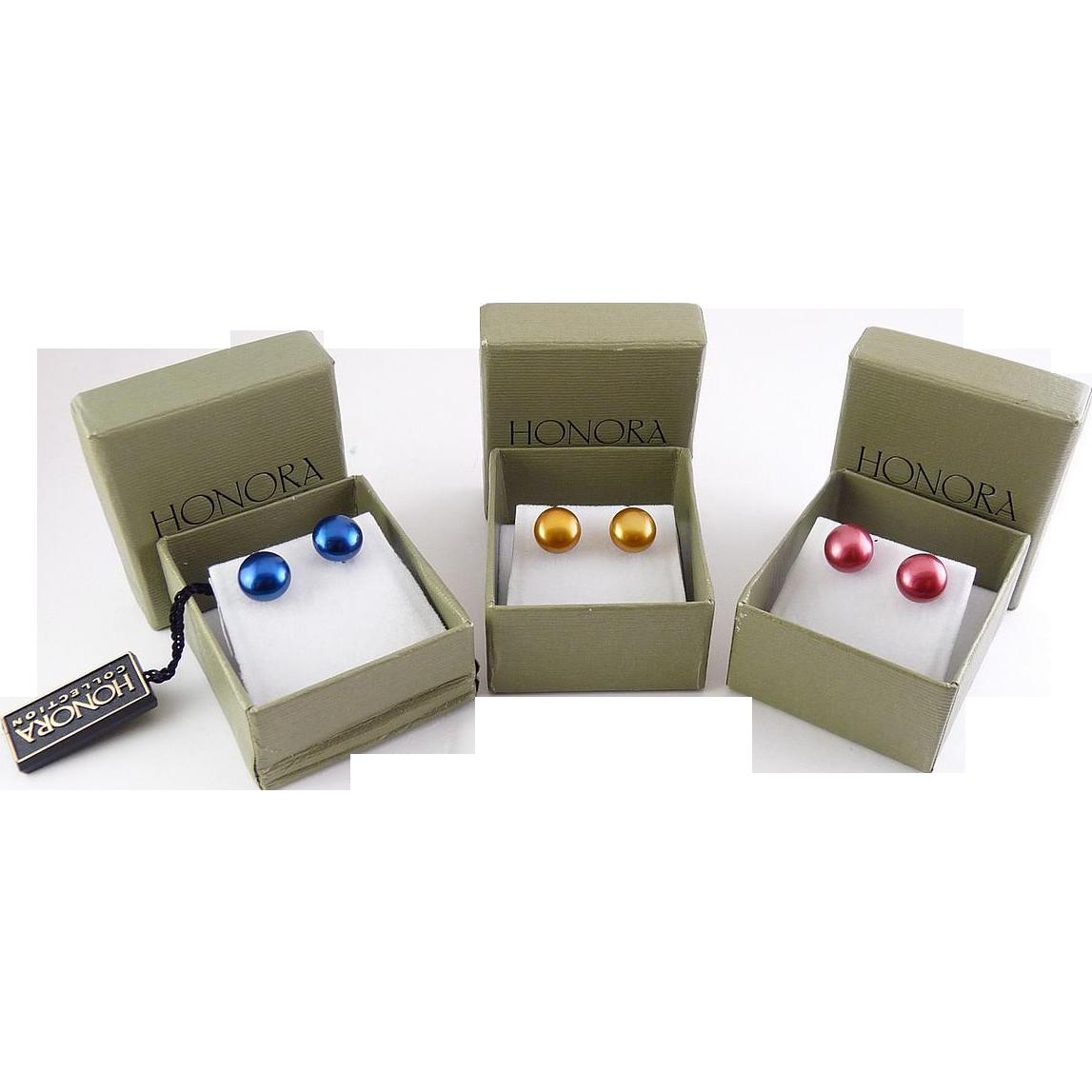 3 Pair HONORA Pearl & Sterling Stud Earrings - Blue, Yellow Gold, Red
