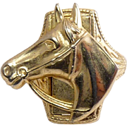 Vintage 1950's Horse Head Ring - Old Store Stock, Gold Plated