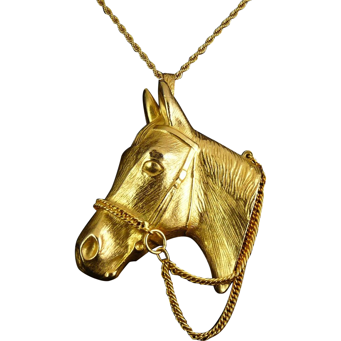 Giant Horse Head with Bridle Chains Pendant Necklace - Vintage