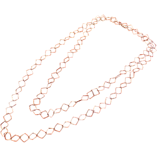 """Italian Sterling Silver Square Open Links 43"""" Necklace"""