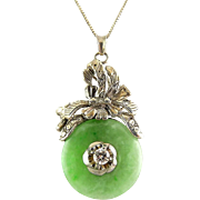 Green Jadeite, Sterling Silver & Diamond Set Bi Disk Pendant Necklace with Chain