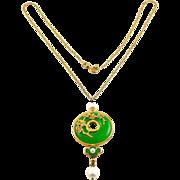 Vintage Green Jadeite Jade, White Pearl, Diamond & Enamel Pendant, Sterling Silver Vermeil Necklace