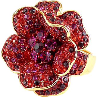 Joan Rivers Red & Pink Flower Ring - Rhinestone Crystal Pave