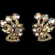 JULIANA Lg AB & Lemon Yellow Rhinestones Flower Clip Earring - DeLizza & Elster