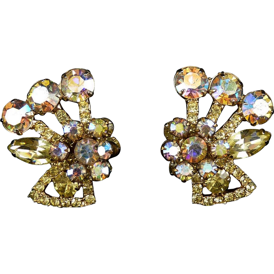 JULIANA Lg AB & Lemon Yellow Rhinestones Flower Clip Earring - DeLizza & Elster
