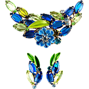 DeLizza & Elster Juliana Sapphire Blue & Green Rhinestones Pin & Earrings with Enamel Flower & Leaves