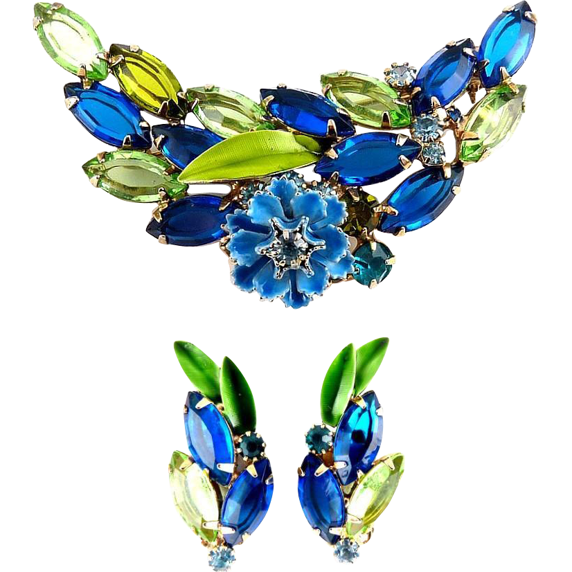 DeLizza & Elster Juliana Sapphire Blue & Green Rhinestones Pin & Earrings with Enamel Flower & Leaves
