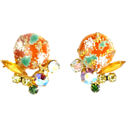 JULIANA Orange & Green Easter Egg Cabochon Earrings by DeLizza & Elster