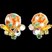 JULIANA Orange & Green Easter Egg Cabochon Earrings by DeLizza & Elster