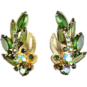 Juliana Green/AB Multi Rhinestone Earrings with Metal Leaves - Delizza & Elster