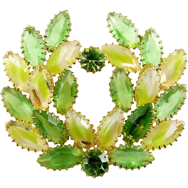 DeLizza & Elster Juliana Peridot Green , Lime & White Givre Rhinestones Wreath Brooch Pin