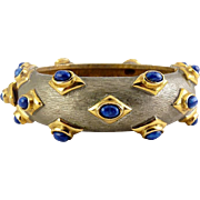 Kenneth Jay Lane C1970 Two Tone Clamper Bangle with Lapis Cabochons