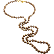 Vintage Kenneth Jay Lane Cocoa Brown Glass Pearls Necklace with Signature Clasp