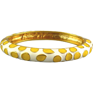 Kenneth Jay Lane Enamel Giraffe Spots Hinged Bangle - Yellow and White