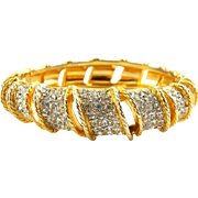 Vintage Kenneth Jay Lane 1970s Rhinestone Pave' Clamper Bangle Bracelet