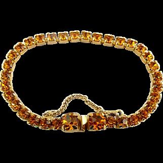 1960's KRAMER of N.Y. Golden Topaz Rhinestone Line Eternity Bracelet