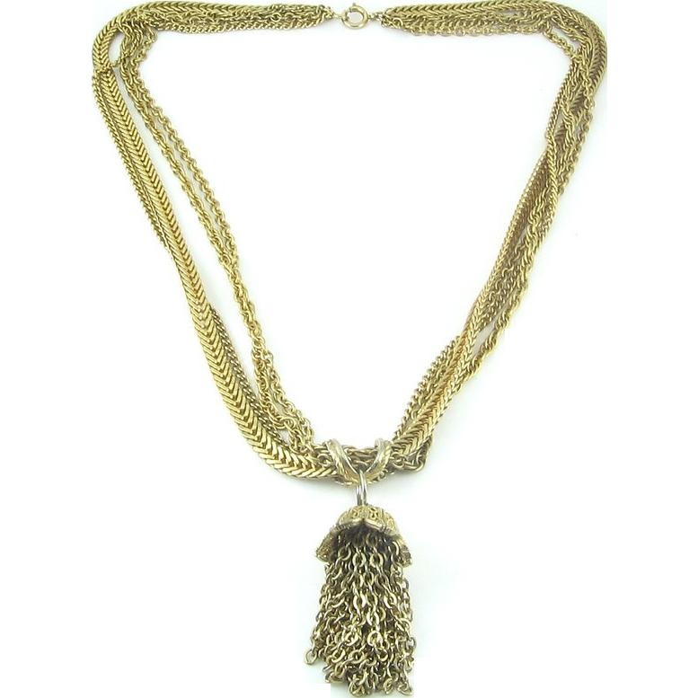 KRAMER 4-Strand Chain Necklace with Slider Tassel Pendant