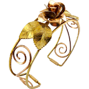 KREMENTZ Yellow & Rose Gold-Filled Cuff Bracelet with Full Rose, Leaves, and Scrolls