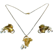 Krementz Gold-Filled Grape Leaf & Pearl Trio Pendant Necklace & Earrings