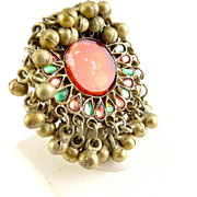 Afghan Kuchi, Indian Banjara Nomad Ring with Glass Jewels & Bells- Adjustable