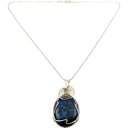 Large Lapis Lazuli Teardrop Pendant, Sterling Silver Wire Wrapped, Sterling Necklace