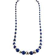 Graduated Lapis Lazuli & Sterling Silver Beads 30 Inch Necklace