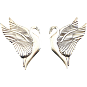 Vintage Early Laurel Burch Sterling Silver Lg Heron Swan Earrings