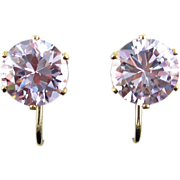 Lavender CZ 10mm Faceted Solitaire Clip On Earrings