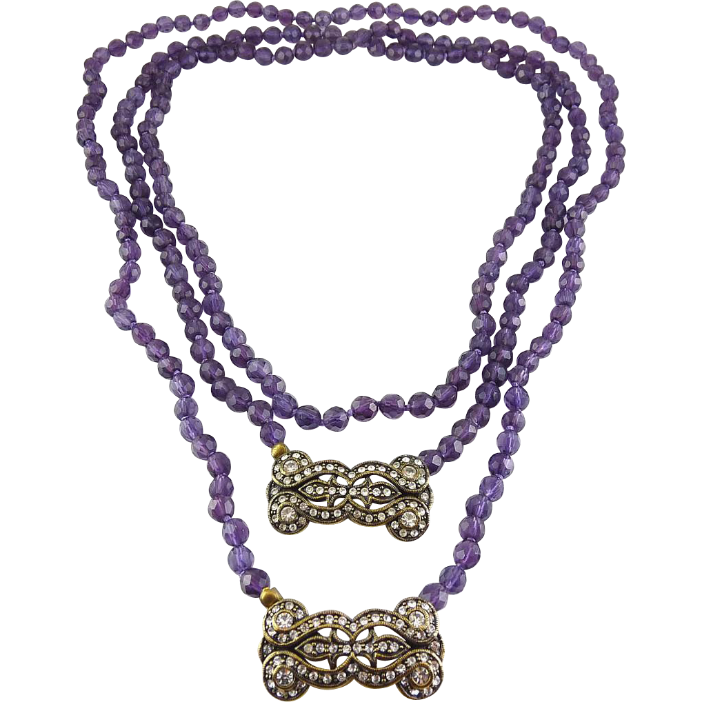 La Vintage Amethyst Glass Bead Necklaces with Art Deco Crystal Clasps - 36 Inches & 24 Inches