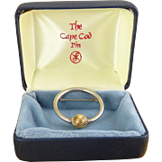 Cape Cod Sterling Silver & 14K Gold Circle Pin by Lestage