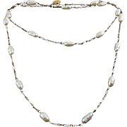 Les Bernard Gold-Filled Chain Necklace with Freshwater Pearls - 30 Inches Long
