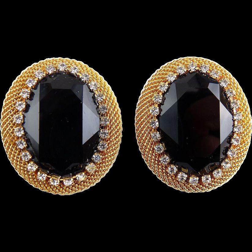 Large Jet Black Crystal Earrings in Gold-Tone Mesh & Rhinestone Settings
