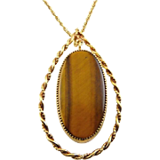"1960's Modernist Tigers Eye Quartz Lg. Pendant in Swinging Teardrop Frame, 18"" GF Necklace"