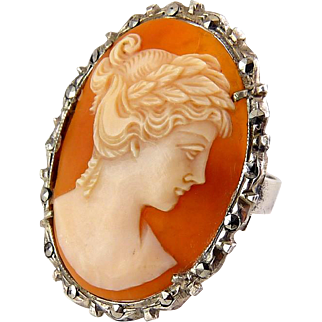 Gorgeous Big .800 Silver Shell Cameo Ring with Marcasite Frame, Sz. 9.5