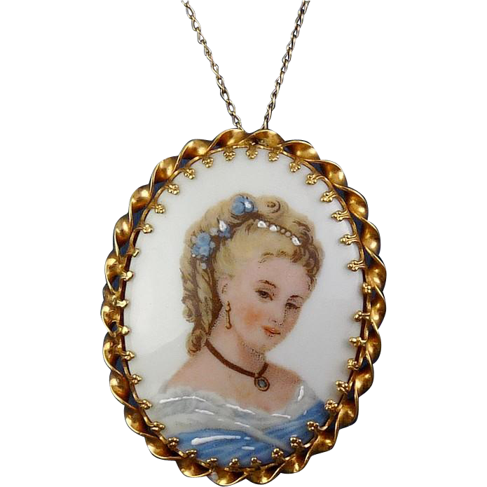 Vintage Limoges Enamel Porcelain Woman's Portrait Pin- Pendant- Southern Belle in Blue