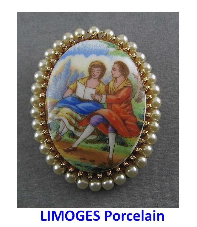 Vintage LIMOGES Romantic Couple Image Pin with Faux Pearls