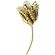 1960's Long Black & White Rhinestones Mod Flower Pin with Layered Petals