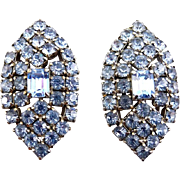 1960's Blue Rhinestone Lg. Marquise Shape Earrings - Clip On