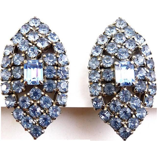 1960's Blue Rhinestone Lg. Marquise Shape Earrings - Clip On